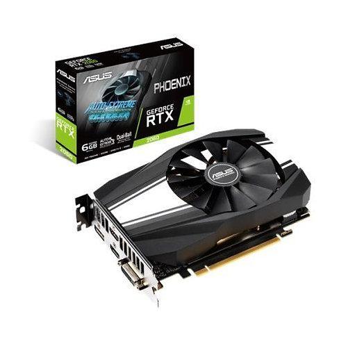 Asus Phoenix GeForce RTX2060, 6GB DDR6, DVI, 2 HDMI, DP, 1680MHz Clock, Compact