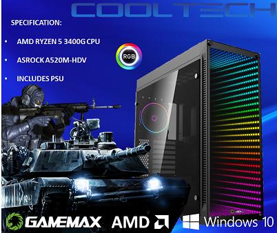 CTBB40 AMD RYZEN 5 3400G BAREBONES PC - NO RAM NO SSD - PRE-BUILT SYSTEM