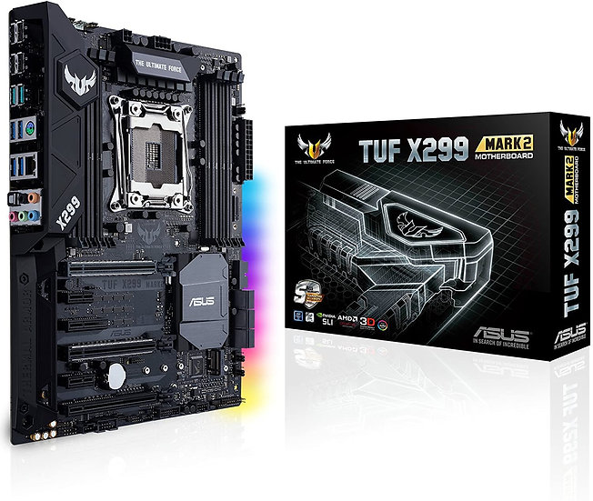 Asus TUF X299 MARK 2, Intel X299, 2066, ATX, 8 DDR4, SLI/XFire, RGB Lighting, M2