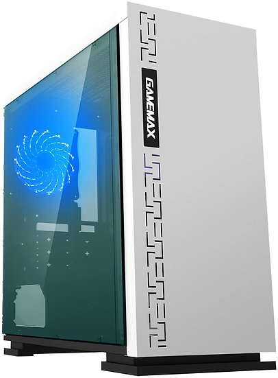 GameMax Expedition White Gaming Matx PC Case Rear LED Fan & Full Side Window