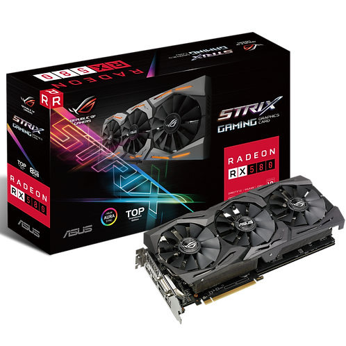 Asus Radeon ROG STRIX RX580 TOP, 8GB DDR5, DVI, 2 HDMI, 2 DP, 1431MHz