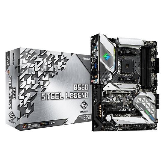 ASRock B550 STEEL LEGEND AMD Socket AM4 ATX HDMI/DisplayPort Dual M.2 USB C 3.2