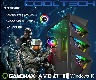 CTBB35 AMD RYZEN 3 3200G BAREBONES PC - NO RAM NO SSD - PRE-BUILT SYSTEM