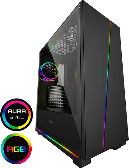 GameMax Gravity ARGB Sync Gaming Case 2xLED Strips 3xFans 3pin Hub TG Window