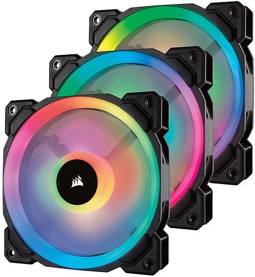 Corsair LL120 12cm PWM RGB Case Fans x3, 16 LED RGB Dual Light Loop, Hydraulic