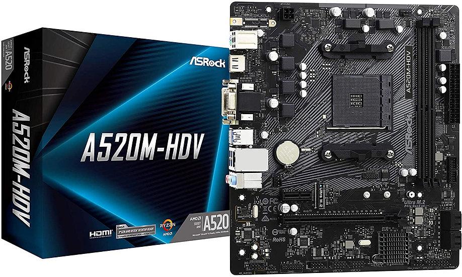 Asrock A520M-HDV, AMD A520, AM4, Micro ATX, 2 DDR4, VGA, DVI, HDMI, M.2