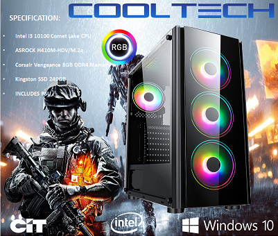 CTG07 Intel i3 10100 Comet Lake with 8GB RAM + 240GB SSD - PRE-BUILT SYSTEM