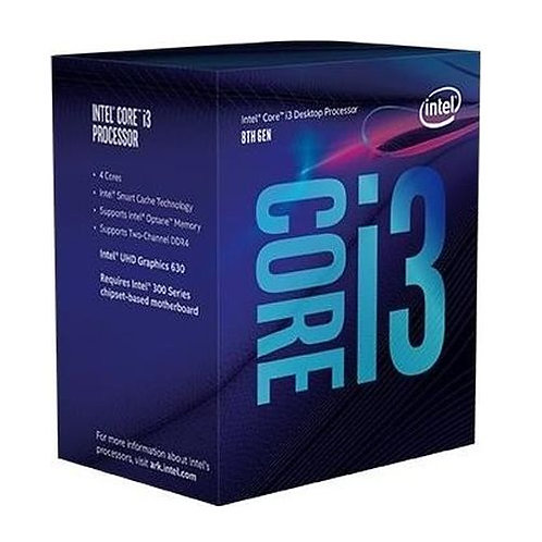 Intel Core I3-8100 CPU, 3.6 GHz, Quad Core, 65W, 14nm, 6MB Cache, UHD GFX, 8 GTs