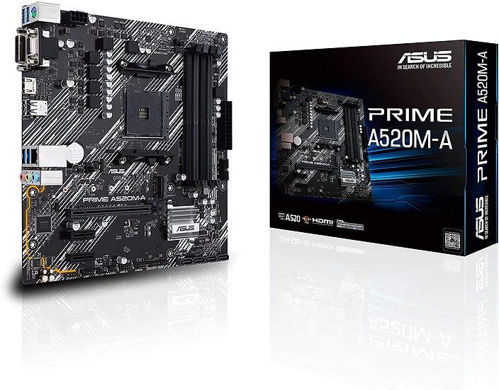 Asus PRIME A520M-A, AMD A520, AM4, Micro ATX, 4 DDR4, VGA, DVI, HDMI, M.2