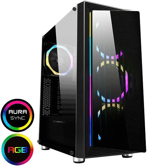 GameMax Osmium Mid-Tower Gaming Case With 4x12cm Spectrum Dual-Ring Fans 1 x RGB