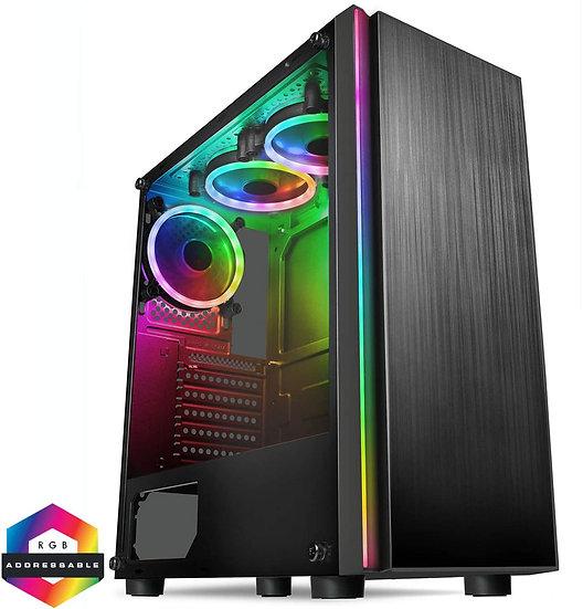 CiT Celsius ATX Case Front ARGB Strip 3xARGB Fans + MB Sync TG Side Panel EPE