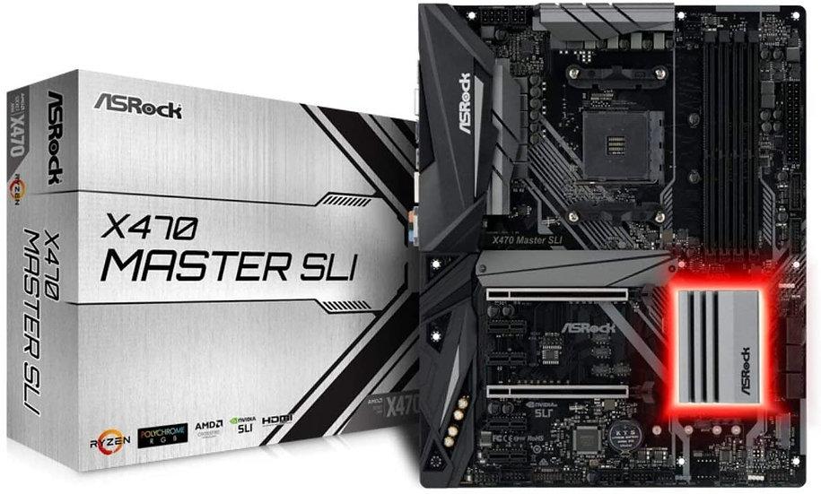 Asrock X470 MASTER SLI, AMD X470, AM4, ATX, DDR4, HDMI, SLI/XFire, Dual M.2, RGB