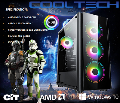 CTG00 AMD RYZEN 5 3400G with 8GB RAM + 240GB SSD - PRE-BUILT SYSTEM