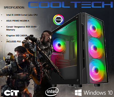 CTG24 Intel i5 10400 Comet Lake PC with 8GB DDR4 240GB SSD - PRE-BUILT SYSTEM