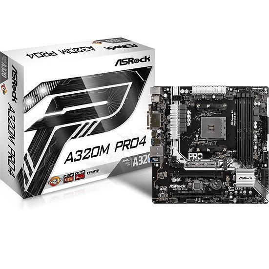 ASRock A320M Pro4 AMD Socket AM4 Ryzen Micro ATX DDR4 D-Sub/DVI-D/HDMI M.2/Ultra