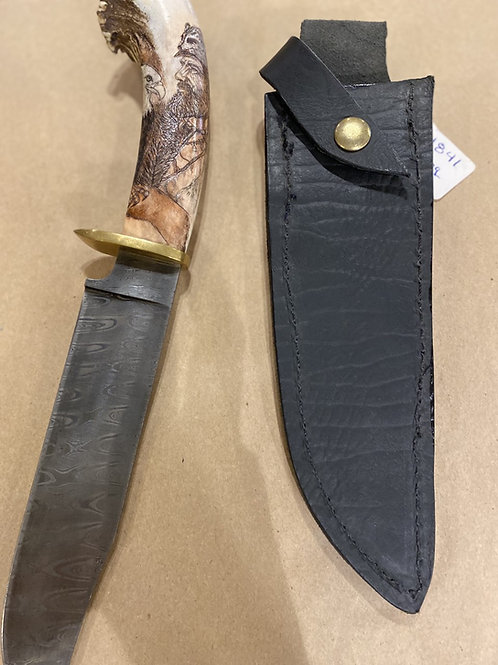 Damascus Knife with Antler-Frontiersman
