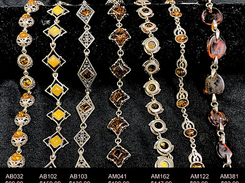Assorted Sterling Amber Braclets
