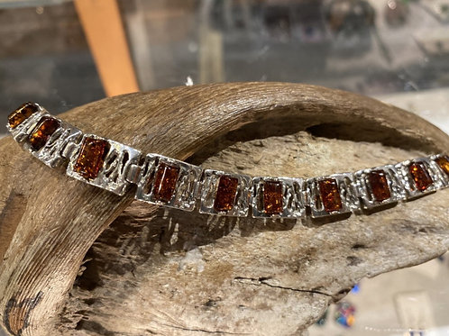 Sterling Silver Amber Braclet