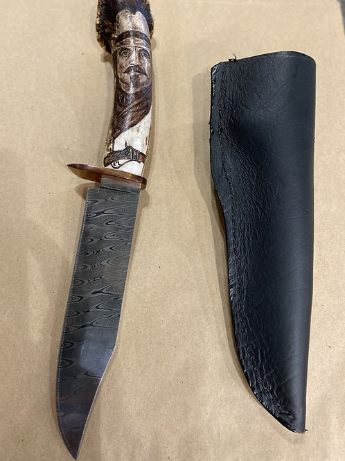Damascus Knife with Antler-Cowboy