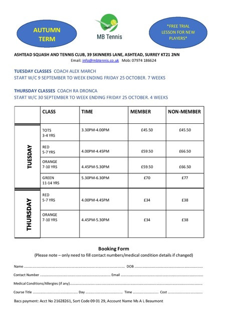 MB Tennis Junior Autumn Term