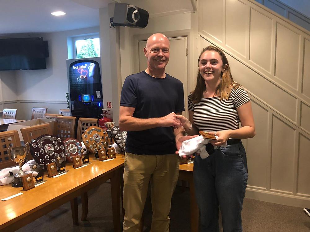 Steve Holmes presents Abbie Stewart with the Ladies Squash trophy