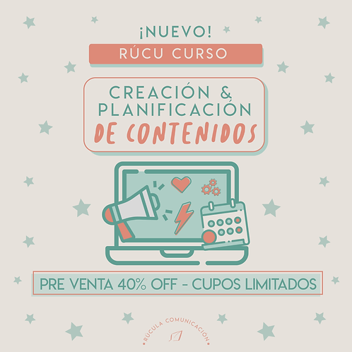 Pre venta/Nuevo Rúcu curso: creación y planificación de contenidos