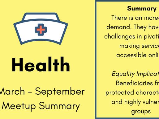 Health Meetup - March - September Summary