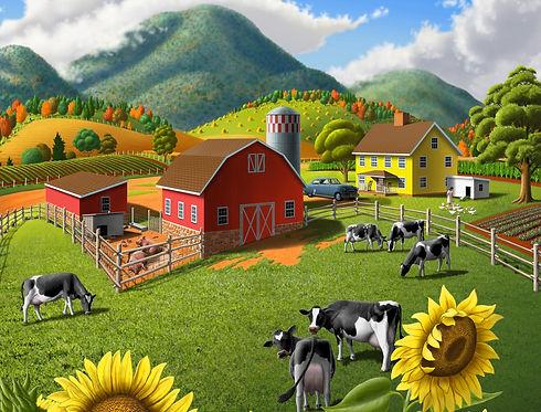 1-Curlee_Walt_SunflowersCowsFarmLandscap