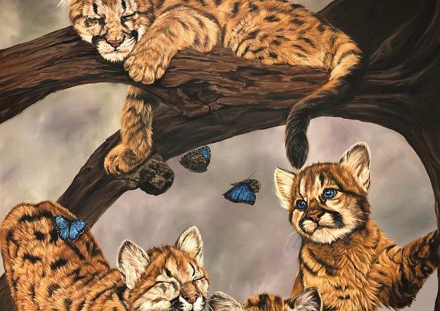 Cougar Cat Nap ©JoyEful Party Animals®.