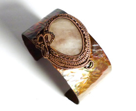 Flame painted copper bangle with agate