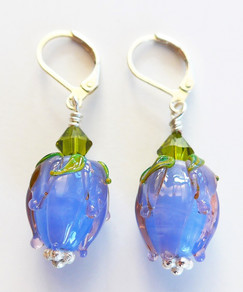 Handmade lampwork glass flowers, Swarovski crystal and sterling silver lever back fittings.