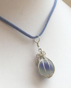 Blue stripe sea marble in sterling silver