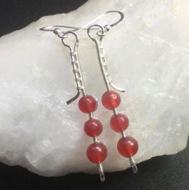 Sterling silver with red agate