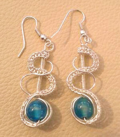 Silver plated wire with blue agate