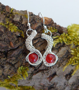 Dainty woven sterling silver with red agate.