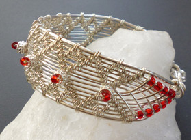 Sterling silver woven cuff bracelet with glass beads