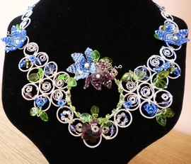 Silver plated wire and Swarovski crystals. A statement piece for a wedding.
