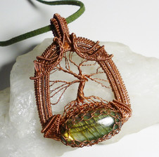 Tree of life in antiqued copper with a green and gold labradorite