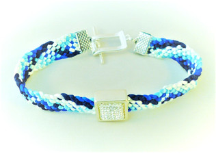Blue and white lightweight braided bracelet with a rhinestone slider decoration.