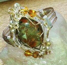 Wire work cuff bracelet with agate and crystals