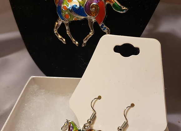 Silver horse necklace and earring set