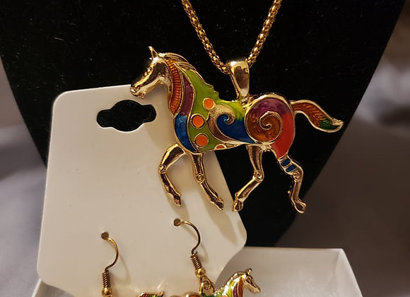 Gold horse necklace and earring set