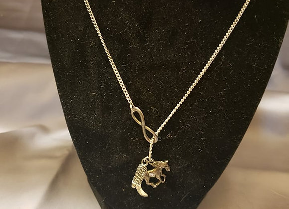 Infinity horse necklace