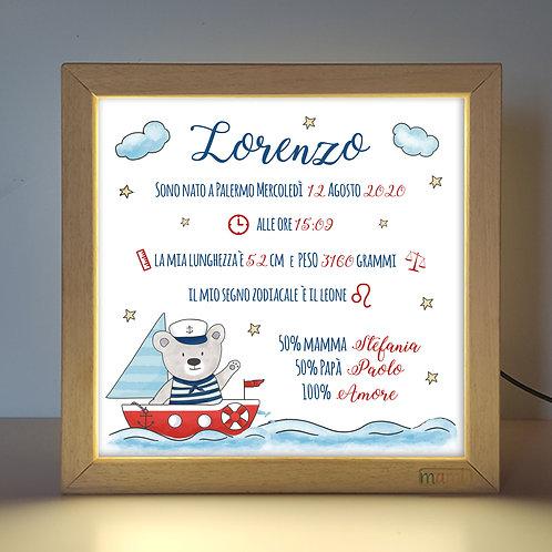 L'orsetto Marinaio - Quadretto Luminoso