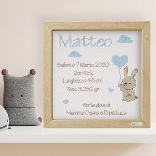 Il Coniglietto Sognatore - Quadretto Nascita