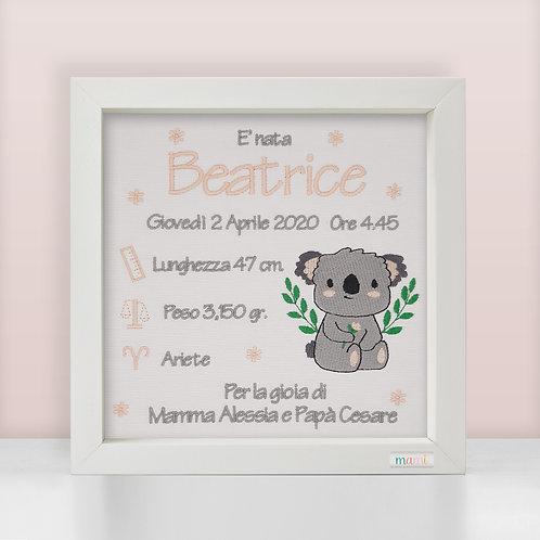 Un Koala Dolcissimo - Quadretto Nascita