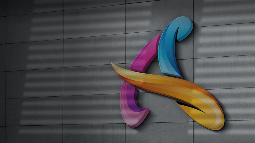 Alliance Marketing 3D logo on a grey wall
