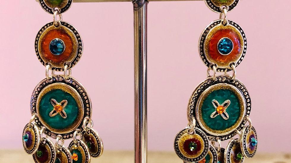 Boucles d'oreilles Sequin trois rangs argent
