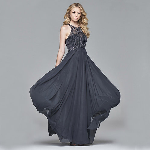[RENT] Long chiffon dress with bead detailing in charcoal