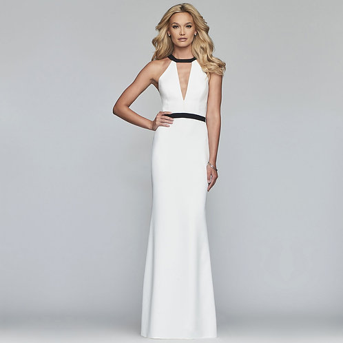 [RENT] Long jewel neck matte stretch crepe dress
